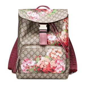 New Gucci Gucci Gg Blooms Supreme Canvas Backpack